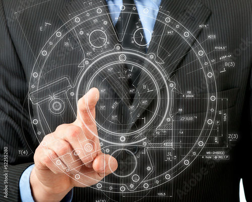 man pushes an invisible button in the visual display