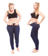Before and after a diet, girl is happy by achievement