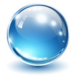 3D glass sphere blue