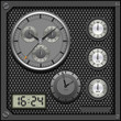 Watches and clocks on vector pattern background.