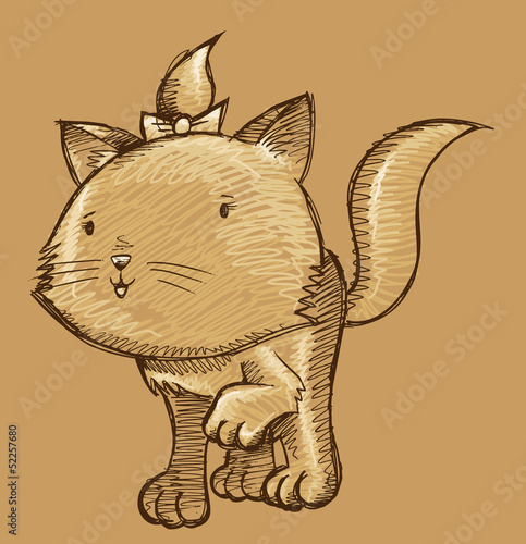 Kitten Cat Sketch Doodle Illustration Art