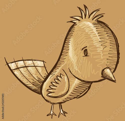 Cute Doodle Sketch Bird Vector Art