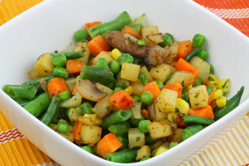 Bowl of fried mixed vegetables