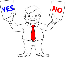 businessman, choice, yes or no