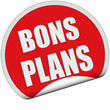 Sticker rot rund cu BONS PLANS