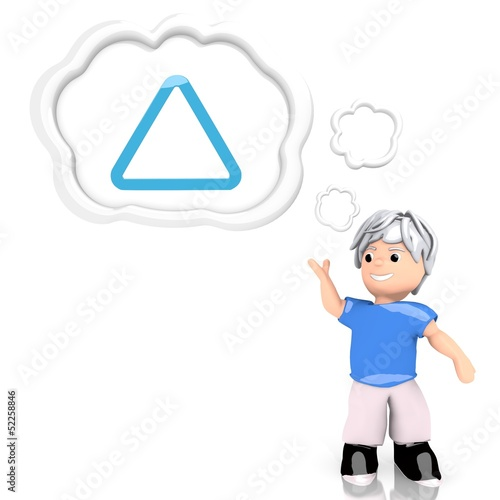 triangle symbol  thought by a 3d character