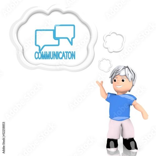 communication sign  thought by a 3d character