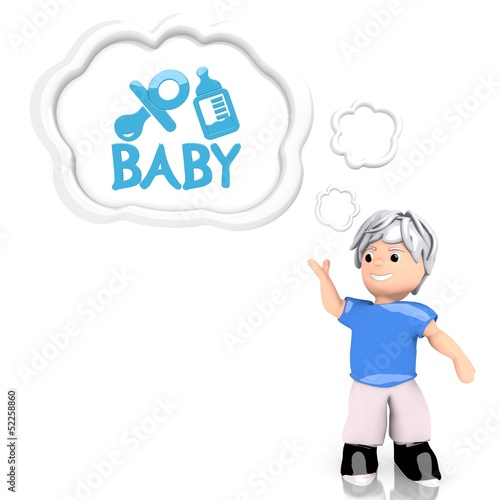 3d render of a creative baby sign  thought by a 3d character