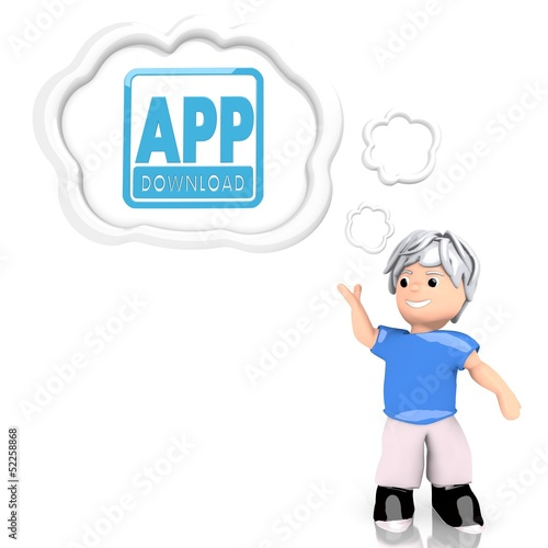 app download symbol  thought by a 3d character