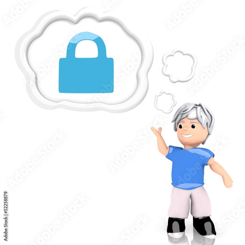 3d render of a save secure symbol  thought by a 3d character