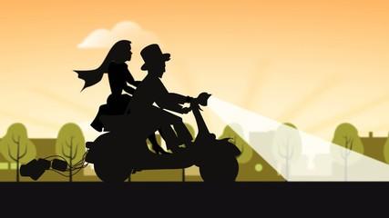 Flitterwochen auf Motorrad