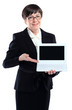 Business woman presenting white laptop