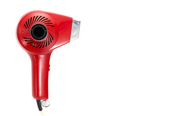 vintage red hair dryer on a white background