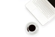 coffee cup with white notebook on white background