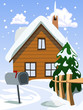 Illustration of house in snow landscape