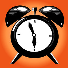 Alarm clock on the orange background. Old illustration technique