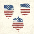 Shield shaped american flag. Vector, EPS10