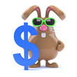 Chocolate bunny has a US Dollars symbol