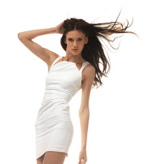 young woman in white dress