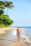 Beach lifestyle man surfer with surfing bodyboard