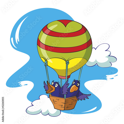 Birds flying in a balloon