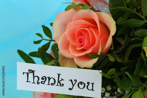 Thank you note with pink rose