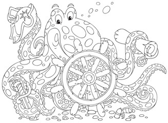 Octopus pirate with a steering wheel and map