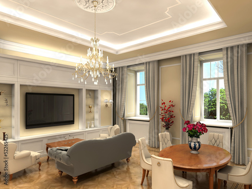 Rendering of a luxurious living room
