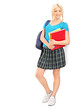 Full length portrait of a female student with school bag holding