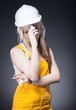 Depressed architect woman construction worker