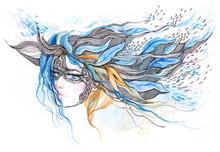 красивая женщина с абстрактным графическим украшение в ее слышат