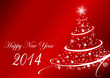 2014 new years vector illustration with christmas tree