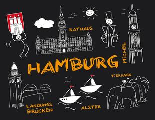 Hansestadt Hamburg, Wahrzeichen, Tafel, Kreide