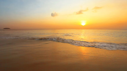 Tropical beach at beautiful sunset. Nature background.