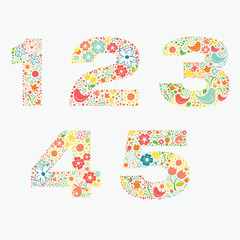 Ornamental floral numbers 1 2 3 4 5