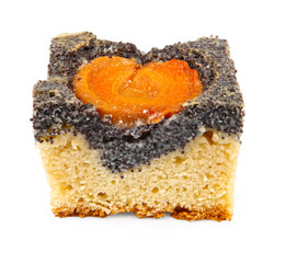 poppy seed dessert with peach isolated on white