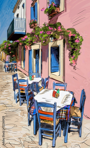 Foto op Aluminium Drawn Street cafe European city street color illustration