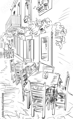 Papiers peints Drawn Street cafe European city street color illustration