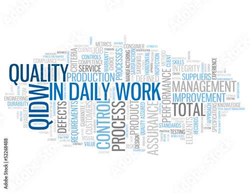 """QUALITY IN DAILY WORK"" Tag Cloud (total marketing management)"