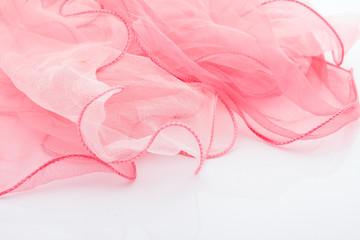 Pink silk scarf.