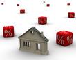 Ипотека. Дом и кубики с процентами. Концепция