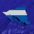 Nicaragua map flag in abstract ocean illustration