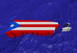 Puerto Rico map flag in abstract ocean illustration