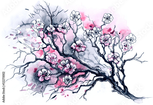 Wall mural cherry tree