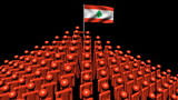 pyramid of men with rippling Lebanese flag animation