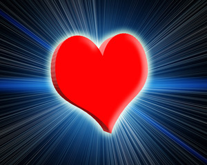 3d glowing red heart. Rays and glow around.