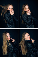 beautiful smile woman in black jacket with long hair