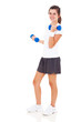 teen girl lifting dumbbells