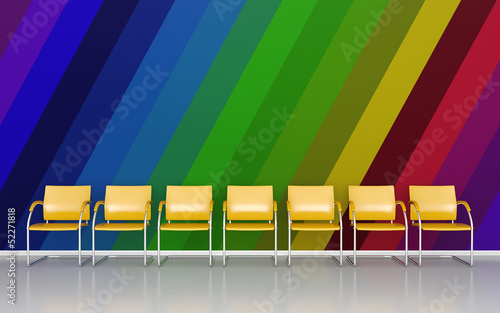 Colorful interior - oblique colored lines on wall