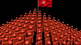 pyramid of men with rippling Tunisian flag animation